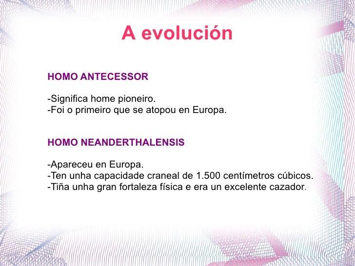 A evolución HOMO ANTECESSOR -Significa home pioneiro. -Foi o primeiro que se atopou en Europa. HOMO NEANDERTHALENSIS -Apar...