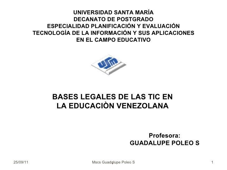 UNIVERSIDAD SANTA MARÍA DECANATO DE POSTGRADO ESPECIALIDAD PLANIFICACIÓN Y EVALUACIÓN TECNOLOGÍA DE LA INFORMACIÓN Y SUS A...
