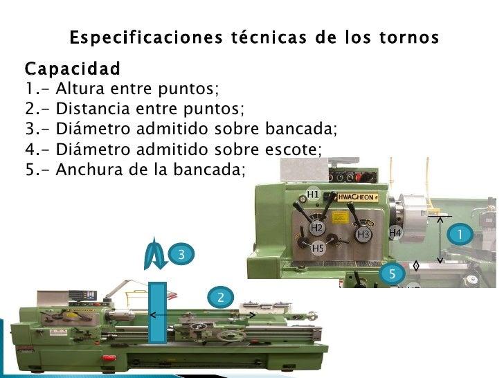 1 5 Especificaciones técnicas de los tornos Capacidad 1.- Altura entre puntos;  2.- Distancia entre puntos;  3.- Diámetro ...
