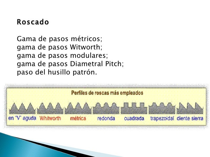 Roscado Gama de pasos métricos;  gama de pasos Witworth;  gama de pasos modulares;  gama de pasos Diametral Pitch;  paso d...