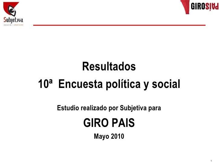 Resultados 10ª Encuesta política y social     Estudio realizado por Subjetiva para               GIRO PAIS                ...