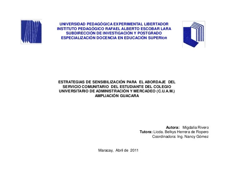 UNIVERSIDAD PEDAGÓGICA EXPERIMENTAL LIBERTADORINSTITUTO PEDAGÓGICO RAFAEL ALBERTO ESCOBAR LARA     SUBDIRECCIÓN DE INVESTI...