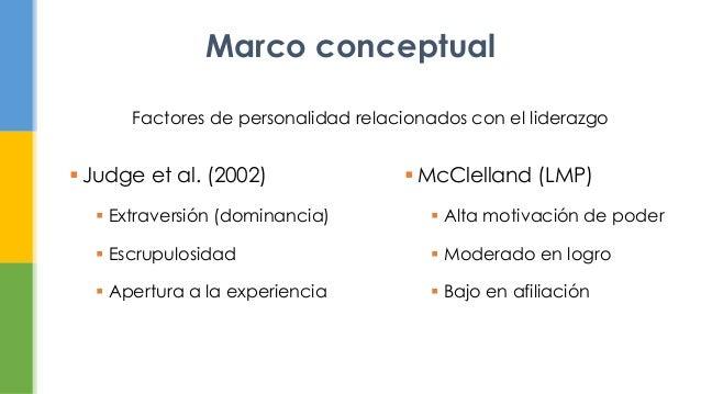  Judge et al. (2002) Extraversión (dominancia) Escrupulosidad Apertura a la experienciaMarco conceptual McClelland (L...