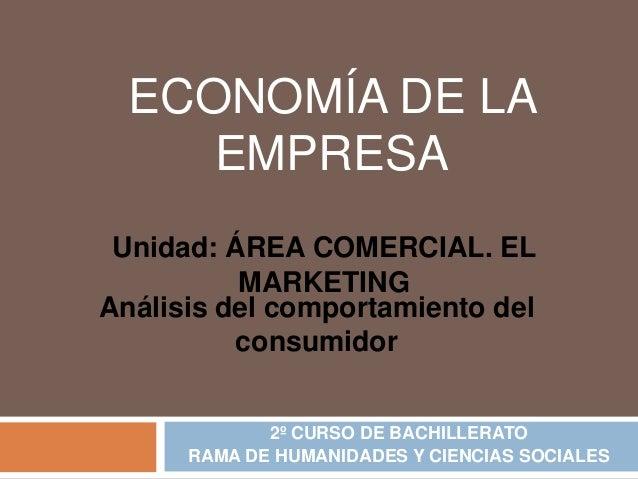 ECONOMÍA DE LA     EMPRESA Unidad: ÁREA COMERCIAL. EL          MARKETINGAnálisis del comportamiento del          consumido...