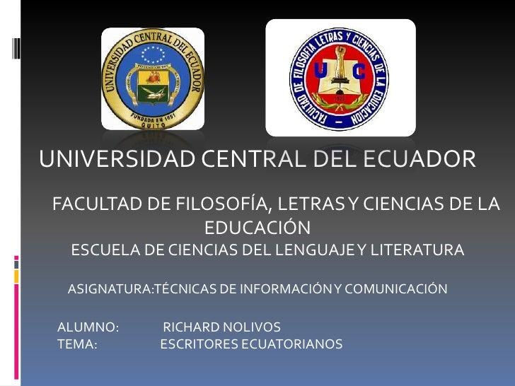 UNIVERSIDAD CENTRAL DEL ECUADORFACULTAD DE FILOSOFÍA, LETRAS Y CIENCIAS DE LA               EDUCACIÓN  ESCUELA DE CIENCIAS...