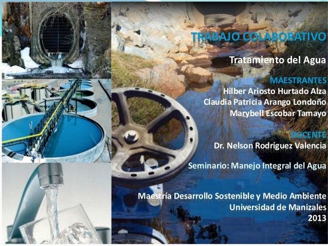 Trabajo colaborativo tratamiento del agua arango escobar - Tratamiento del agua ...