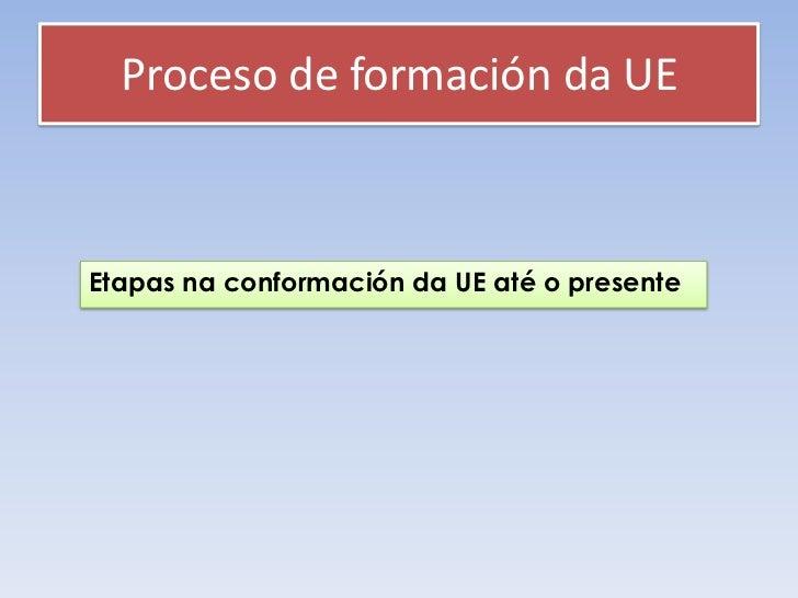 Proceso de formación da UEEtapas na conformación da UE até o presente