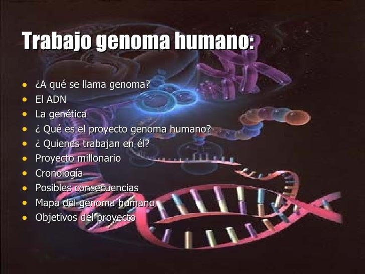Trabajo genoma humano: <ul><li>¿A qué se llama genoma? </li></ul><ul><li>El ADN </li></ul><ul><li>La genética </li></ul><u...