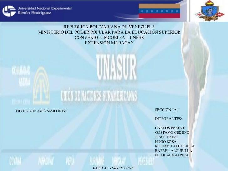 REPÚBLICA BOLIVARIANA DE VENEZUELA MINISTERIO DEL PODER POPULAR PARA LA EDUCACIÓN SUPERIOR CONVENIO IUMCOELFA – UNESR EXTE...