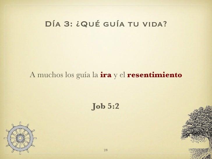 Día 3: ¿Qué guía tu vida? <ul><li>A muchos los guía la  ira  y el  resentimiento </li></ul><ul><li>Job 5:2 </li></ul>