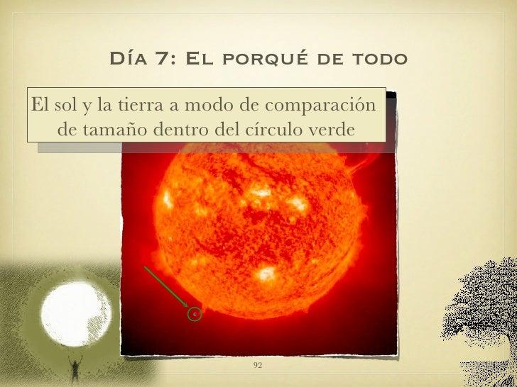 Día 7: El porqué de todo El sol y la tierra a modo de comparación  de tamaño dentro del círculo verde