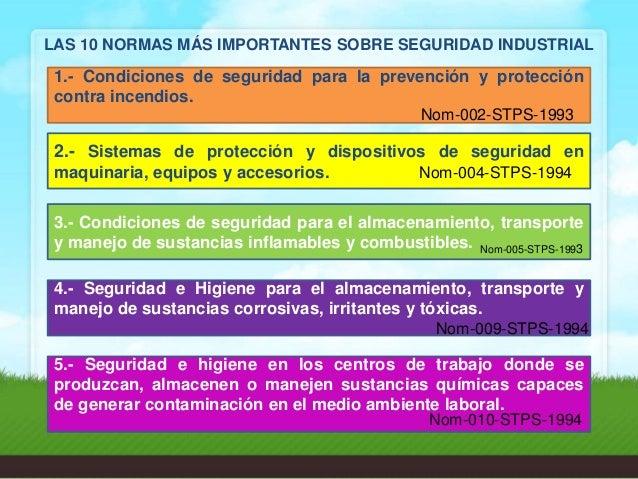 2da1f4609 LAS 10 NORMAS MÁS IMPORTANTES SOBRE SEGURIDAD INDUSTRIAL Según: UNAM,  (2009); 21.
