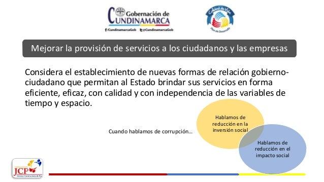 Hablamos de reducción en la inversión social Mejorar la provisión de servicios a los ciudadanos y las empresas Considera e...
