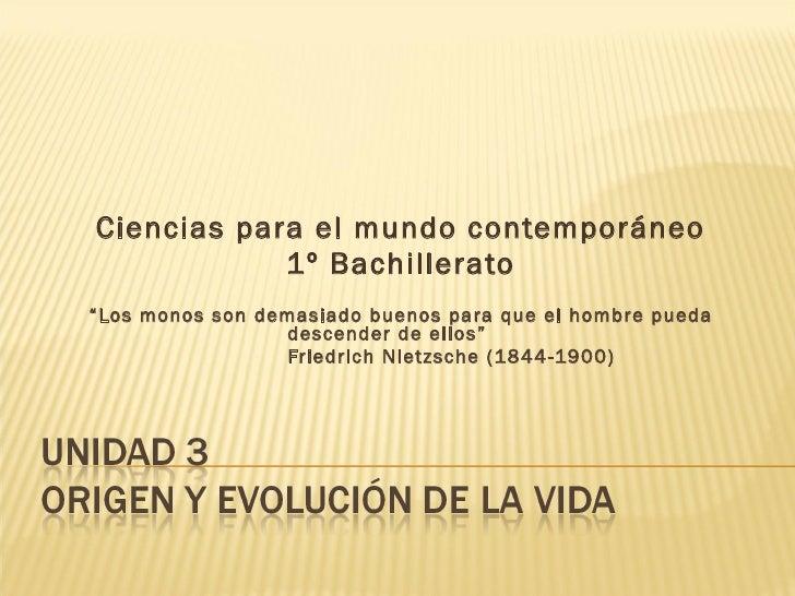 """Ciencias para el mundo contemporáneo 1º Bachillerato """" Los monos son demasiado buenos para que el hombre pueda descender d..."""