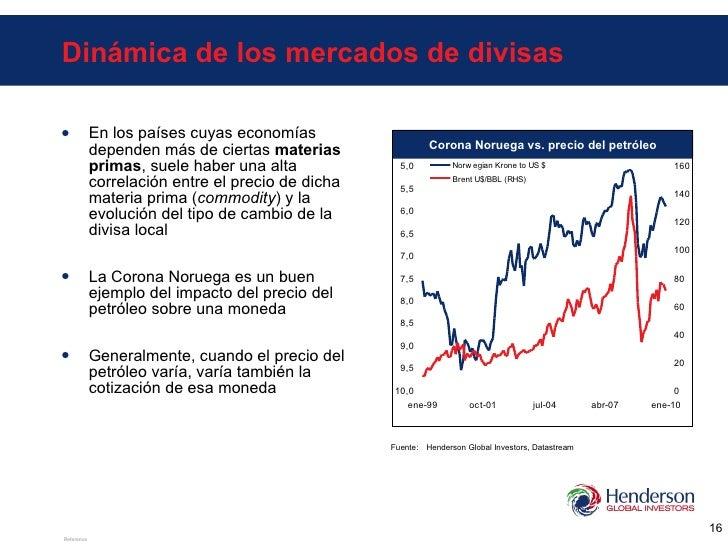 Dinámica de los mercados de divisas <ul><li>En los países cuyas economías dependen más de ciertas  materias primas , suele...