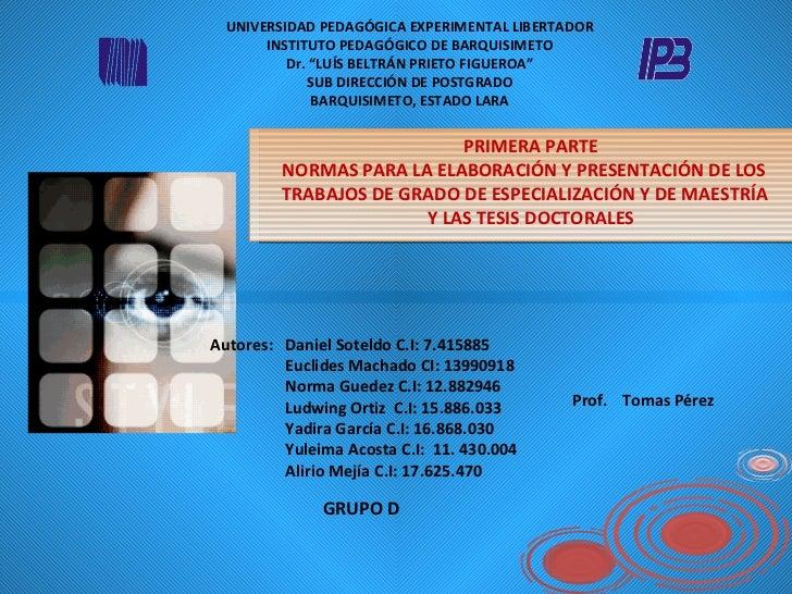 "UNIVERSIDAD PEDAGÓGICA EXPERIMENTAL LIBERTADOR INSTITUTO PEDAGÓGICO DE BARQUISIMETO Dr. ""LUÍS BELTRÁN PRIETO FIGUEROA"" SUB..."