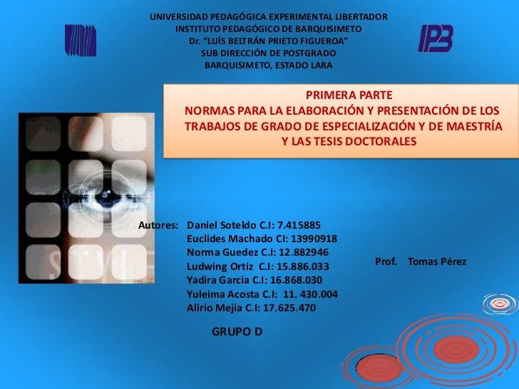"UNIVERSIDAD PEDAGÓGICA EXPERIMENTAL LIBERTADORINSTITUTO PEDAGÓGICO DE BARQUISIMETODr. ""LUÍS BELTRÁN PRIETO FIGUEROA""SUB DI..."