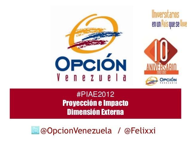 #PIAE2012     Proyección e Impacto      Dimensión Externa@OpcionVenezuela / @Felixxi