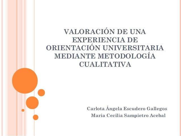 VALORACIÓN DE UNA      EXPERIENCIA DEORIENTACIÓN UNIVERSITARIA MEDIANTE METODOLOGÍA       CUALITATIVA        Carlota Ángel...