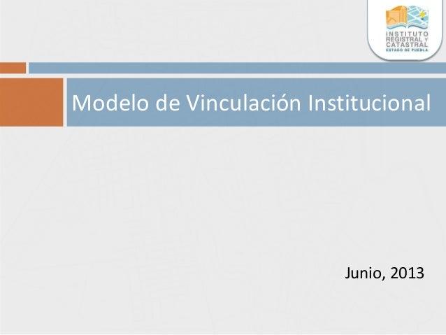 Junio, 2013 Modelo de Vinculación Institucional