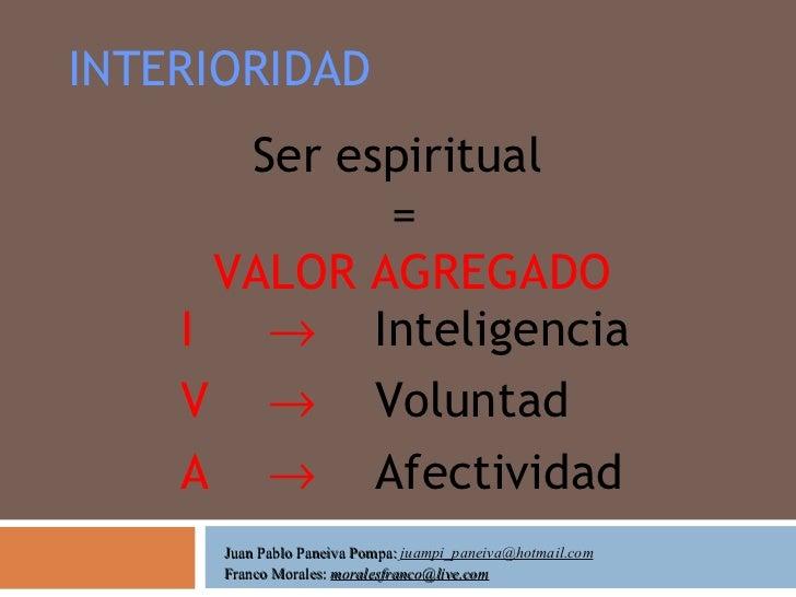 INTERIORIDAD Ser espiritual  = VALOR AGREGADO I     Inteligencia V     Voluntad A      Afectividad Juan Pablo Paneiva P...