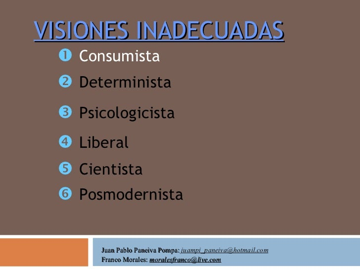 VISIONES INADECUADAS    Consumista    Determinista    Psicologicista    Liberal    Cientista    Posmodernista Juan P...