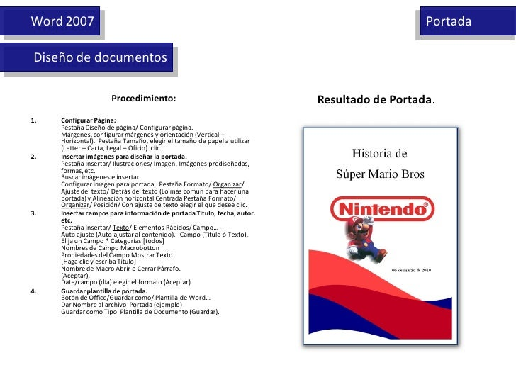 Word 2007                                                                                    Portada  Diseño de documentos...