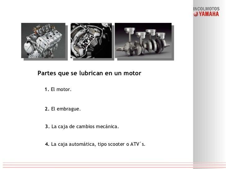 Partes que se lubrican en un motor  1. El motor.  2. El embrague.  3. La caja de cambios mecánica.  4. La caja automática,...