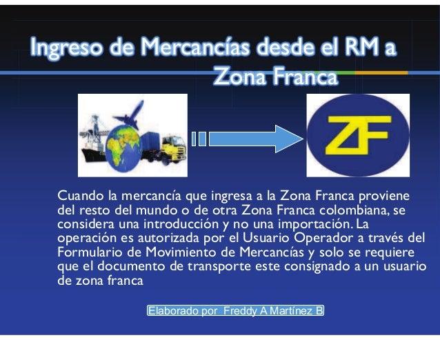 Ingreso de Mercancías desde elResto del Mundo a Zona Franca                •Vía aérea                •Tránsito Aduanero   ...