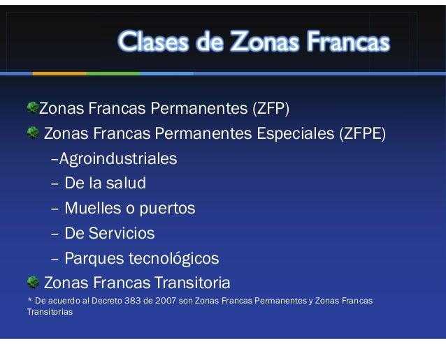 Clases de Zonas Francas  Zonas Francas Permanentes (ZFP)  Zonas Francas Permanentes Especiales (ZFPE)   –Agroindustriales ...