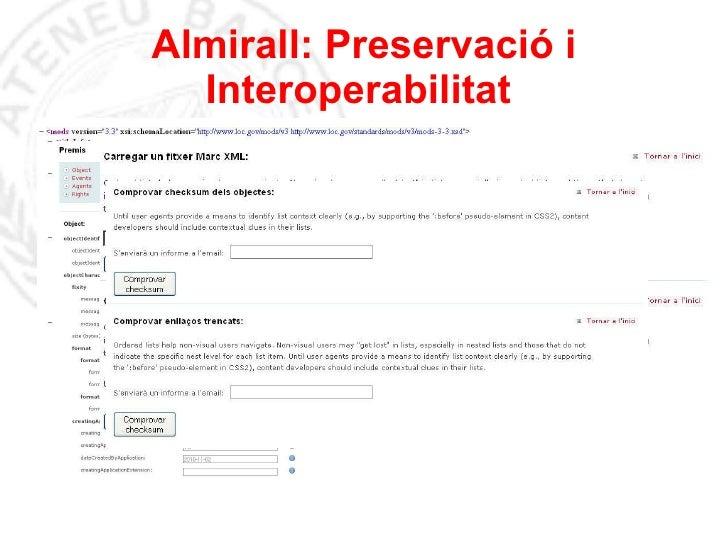 Almirall: Preservació i Interoperabilitat
