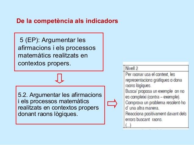 Es donen exemples de respostes dels tres nivells5.1. Justificar les afirmacions iels processos matemàticsrealitzats en con...