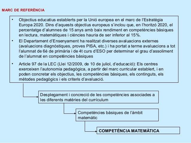 MARC DE REFERÈNCIA    •   Objectius educatius establerts per la Unió europea en el marc de l'Estratègia        Europa 2020...