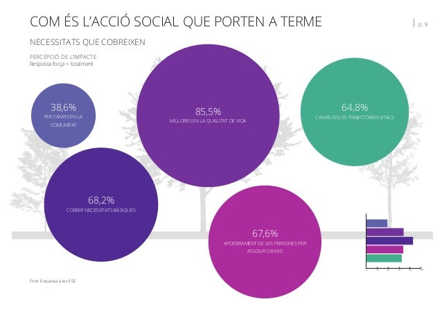 COM ÉS L'ACCIÓ SOCIAL QUE PORTEN A TERME   p. 9 NECESSITATS QUE COBREIXEN Font: Enquesta a les ESE PERCEPCIÓ DE L'IMPACTE ...