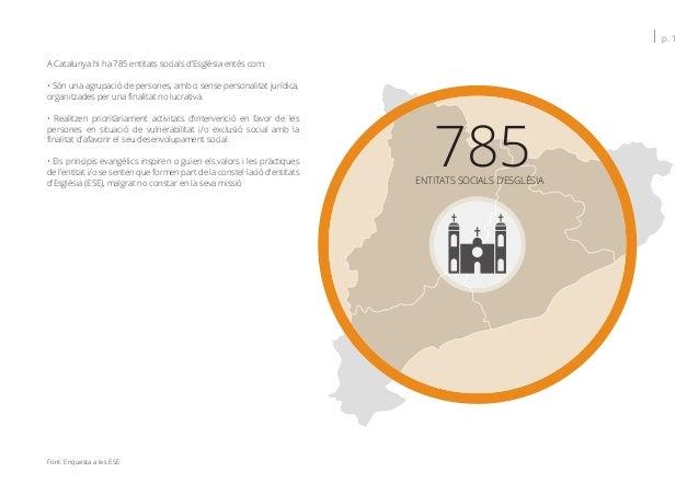 Font: Enquesta a les ESE A Catalunya hi ha 785 entitats socials d'Església entès com: • Són una agrupació de persones, amb...