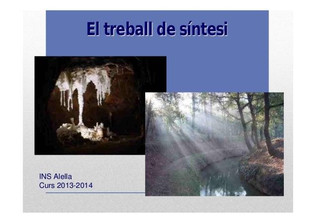 ElEl treballtreball dede ssííntesintesi INSINS AlellaAlella CursCurs 20132013--20142014
