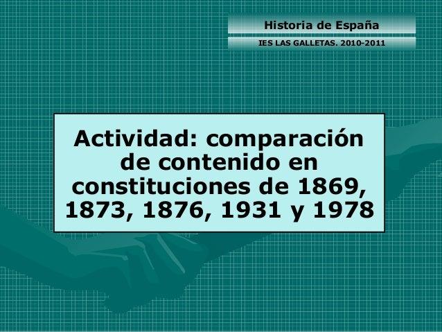 Historia de España Actividad: comparación de contenido en constituciones de 1869, 1873, 1876, 1931 y 1978 IES LAS GALLETAS...