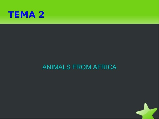 TEMA 2 ANIMALS FROM AFRICA