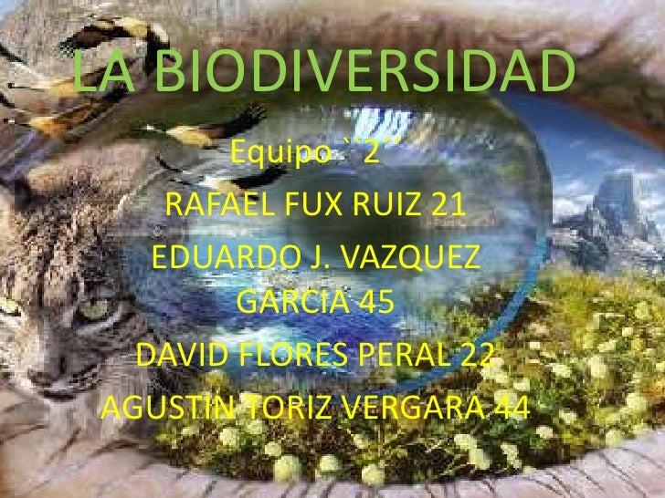 LA BIODIVERSIDAD        Equipo ``2´´     RAFAEL FUX RUIZ 21    EDUARDO J. VAZQUEZ         GARCIA 45   DAVID FLORES PERAL 2...
