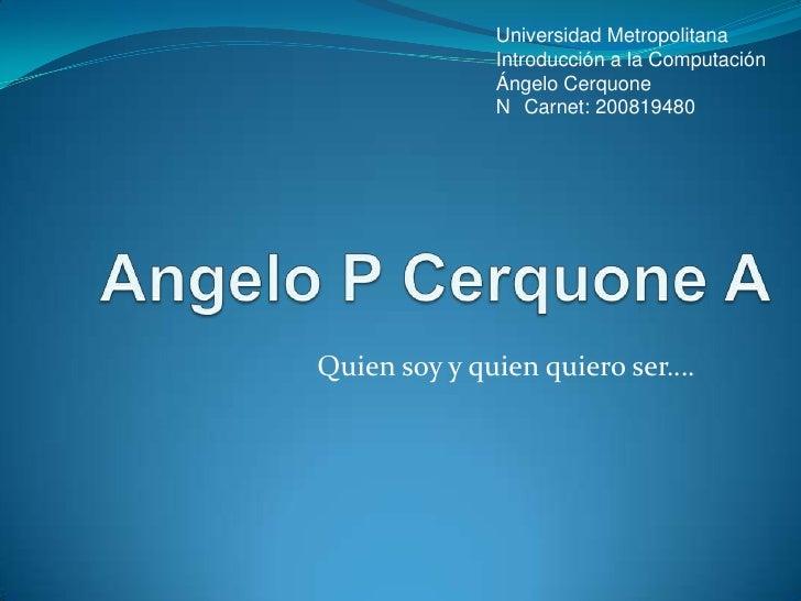 Universidad Metropolitana               Introducción a la Computación               Ángelo Cerquone               N Carnet...