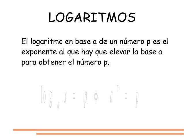 LOGARITMOS El logaritmo en base a de un número p es el exponente al que hay que elevar la base a para obtener el número p....