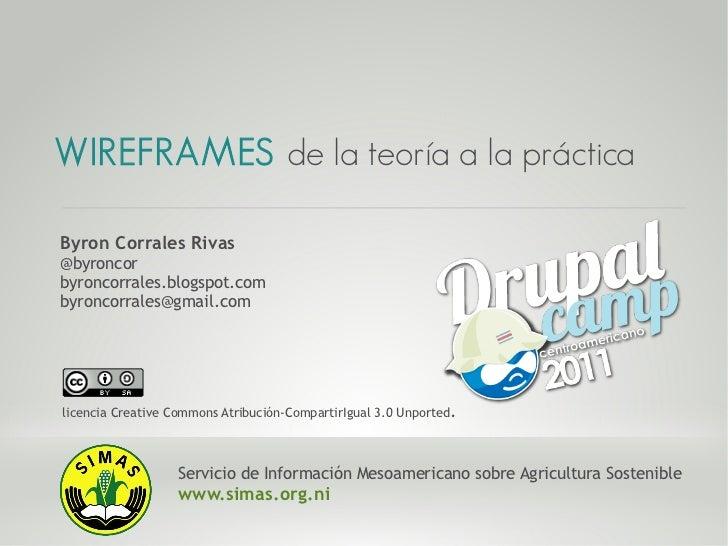 WIREFRAMES de la teoría a la prácticaByron Corrales Rivas@byroncorbyroncorrales.blogspot.combyroncorrales@gmail.comlicenci...