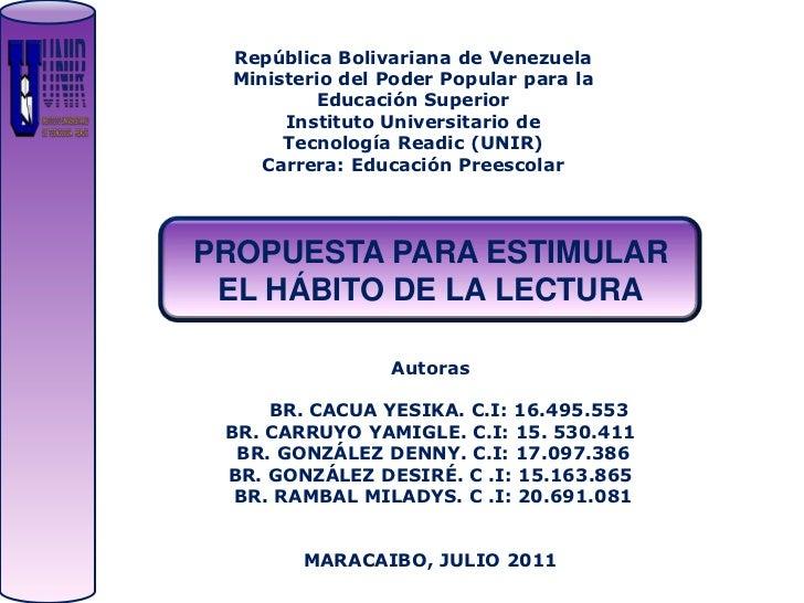 República Bolivariana de Venezuela  Ministerio del Poder Popular para la          Educación Superior       Instituto Unive...