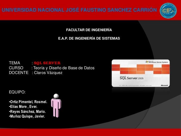 UNIVERSIDAD NACIONAL JOSÉ FAUSTINO SANCHEZ CARRIÓN                                 FACULTAR DE INGENIERÍA                 ...
