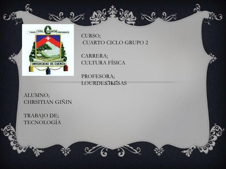 CURSO;                  CUARTO CICLO GRUPO 2                  CARRERA;                  CULTURA FÍSICA                  PR...