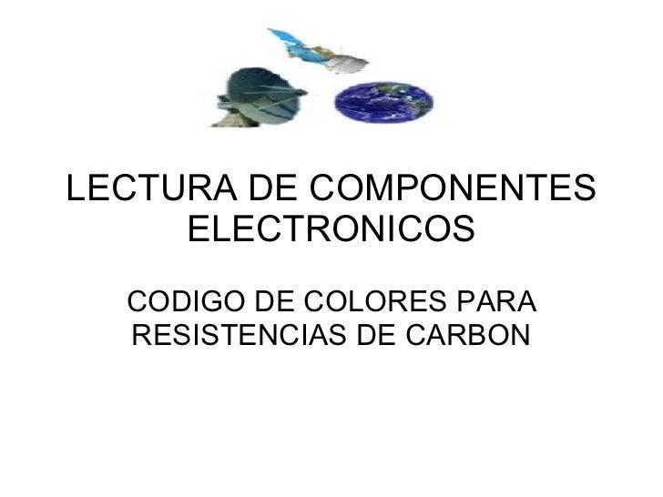 LECTURA DE COMPONENTES ELECTRONICOS CODIGO DE COLORES PARA RESISTENCIAS DE CARBON