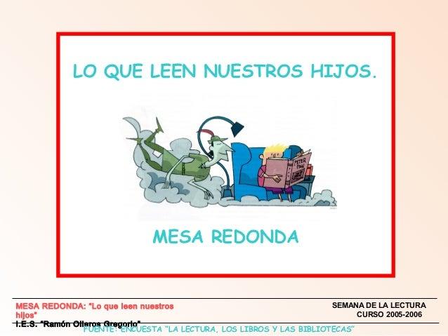 """LO QUE LEEN NUESTROS HIJOS.  MESA REDONDA  SEMANA DE LA LECTURA MESA REDONDA: """"Lo que leen nuestros CURSO 2005-2006 hijos""""..."""