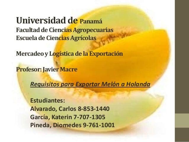 Universidad de Panamá Facultad de Ciencias Agropecuarias Escuela de Ciencias Agrícolas Mercadeo y Logística de la Exportac...
