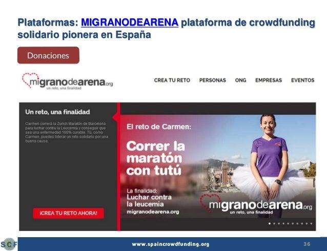 36www.spaincrowdfunding.org Plataformas: MIGRANODEARENA plataforma de crowdfunding solidario pionera en España Donaciones