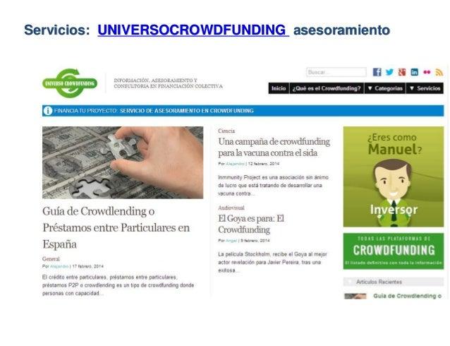 Servicios: UNIVERSOCROWDFUNDING asesoramiento